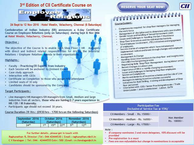 Photo of 3rd Editions of CII Certification course on Employee Relations
