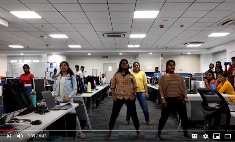 Dancing Celebrations in Office